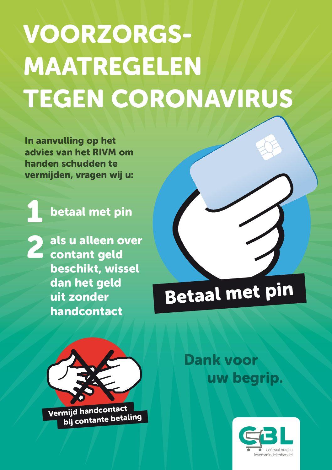 Pinnen als voorzorgsmaatregel tegen coronavirus - CBL